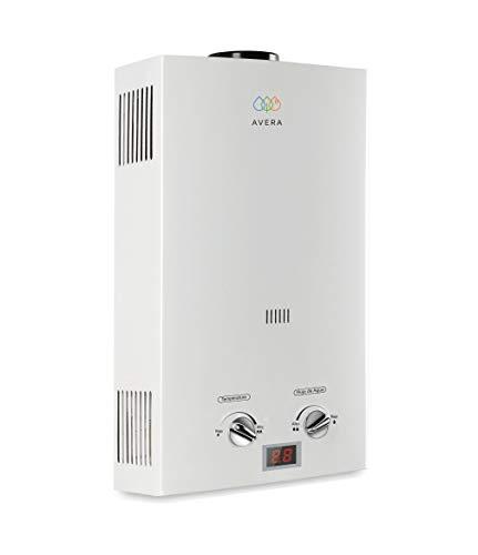 AVERA Calentador de agua 3 regaderas. GAS NATURAL. C16LNAT. Boiler de paso. Calentador instantáneo para casa.