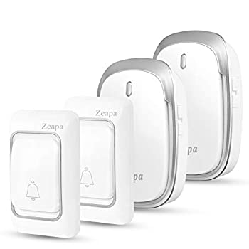 Wireless Doorbell Kit 2 Plug-in Receivers 2 Transmitters 1300ft Range 58Chimes 4Level Sound LED Indicator Battery Included Waterproof Easy to Install Silver for House Class Office