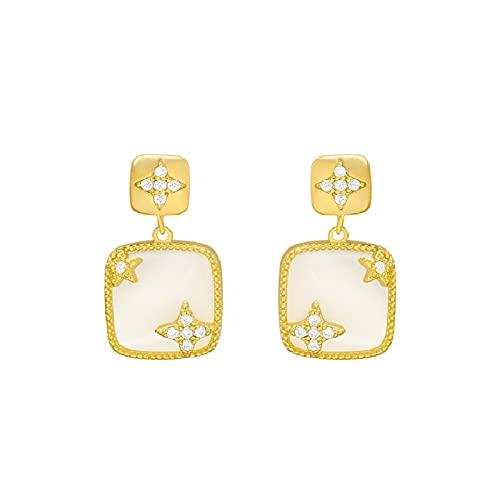 Pendientes sensuales de alta moda Pendientes de temperamento francés Pendientes de diamantes de nicho de aguja de plata S925
