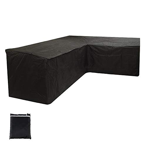 L Shaped Garden Furniture Cover, Outdoor Waterproof Sectional Furniture Cover, Outdoor V Shape Garden Couch Protector Waterproof Patio Sofa Cover Waterproof Windproof Tearproof (215X215X87CM)