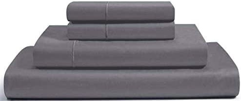RENAURAA 1000 Thread Count True Egyptian Extra Long Staple Cotton Sheet Set, 4 Pc Set, Sateen Weave, Hotel Collection Soft Luxury Bedding, Fits Upto 16″ Deep Pocket (Charcoal/Grey, Queen)
