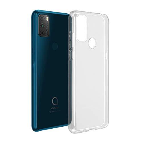 ROVLAK Funda para Alcatel 1S 2021 Silicona Case Transparente Clear Cover Ultra Delgada Ligera Antigolpes Carcasa Anti-arañazos Estuche TPU Silicona Phone Case para Alcatel 1S 2021