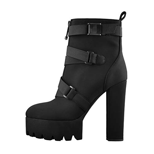 Yolkomo Women's Gorgeous Belt Platform Ankle Booties Strechy Bands with Zippers Round Toe Block Heel Cool Winter Shoes Black Size 12
