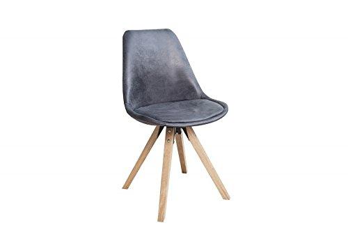 DuNord Design Stuhl Esszimmerstuhl NEW STOCKHOLM Mikrofaser antik grau Eiche Massiv Vintage