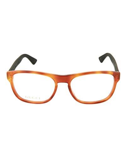Gucci Unisex – Erwachsene GG0173O-002-54 Brillengestell, Kristall Braun-Matt Schwarz, 54