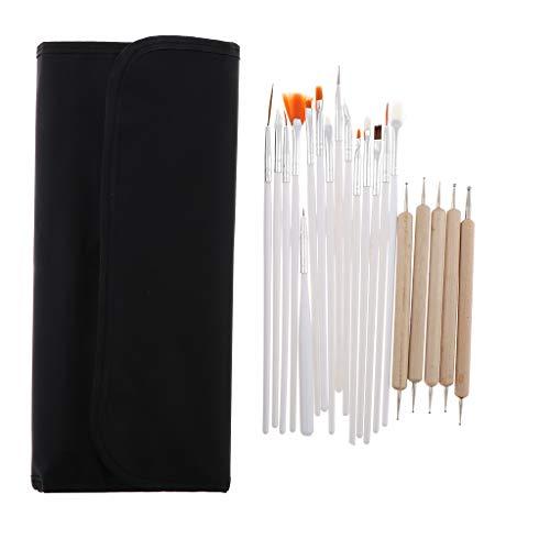 Fenteer 20X kit Nail Art Brosse Pinceaux en Détail Pinceaux pour Nail Art Huile Peinture Pinceaux Ongles avec Sac
