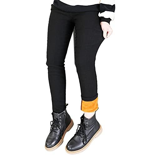 Pantalones Leggings Niña Elasticidad Leggins Elásticos Grueso Cálido Forrado Leggins Pantalones Térmicos Leggings,Negro,140