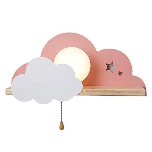 Anclk Kinder Wandlampe Holz Mit Zugschalter Nachtlampe Kreative Wolkenform Wandleuchte Innen Moderne Nachttischlampe Rund Milchglas Lampenschirm Für Kinderzimmer Schlafzimmer Wohnzimmer Treppen (B)
