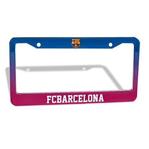 AQC16FC Soccer FC Barcelona License Plate Frame,Aluminum License Plate Holder 12x6 in,License Tag Car Frames for Us Standard (2 Pack)