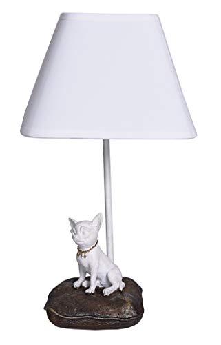 Tischlampe Chiwawa Lampe Chihuahua Leuchte weiß Tischleuchte im Shabby Chic cw114 Palazzo Exklusiv