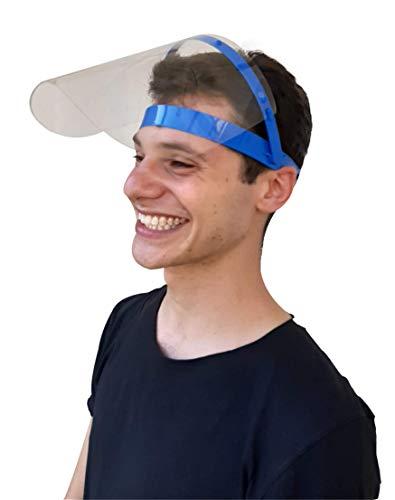 Cosmo Innovation 1 Visiera paraschizzi + 1 telaio, dpi Dispositivo Protezione Individuale, protettiva, sollevabile, ribaltabile, trasparente, protezione totale con mascherina mascherine, blue