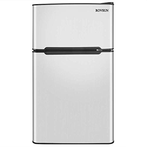 ROVSUN Double Door Compact Refrigerator with Freezer, 3.2 CU FT Mini Fridge for Bedroom Office Dorm with Removable Glass Shelf, Stainless Steel