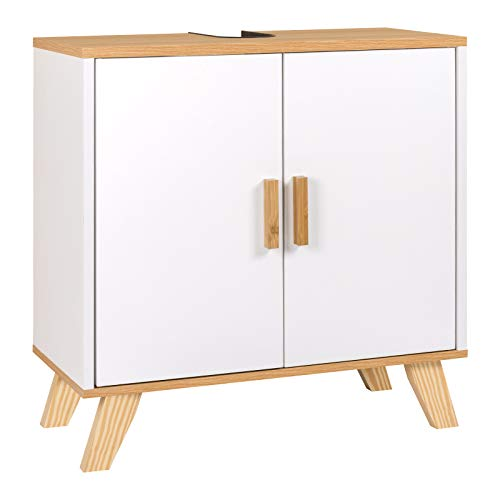 EUGAD Mueble de Baño Armario Bajo Lavabo Mueble para Debajo de Lavabo Mueble Lavabo de Baño Almacenamiento con 2 Puertas Bambú 60 x 30 x 62 cm Blanco 0018WY