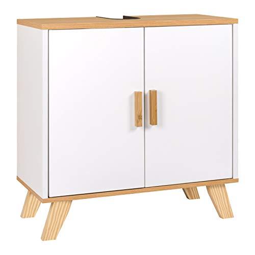 EUGAD Waschbeckenunterschrank Unterschrank Badezimmerschrank Waschtisch Badschrank mit 2 Türe 60 x 30 x 60 cm Weiß