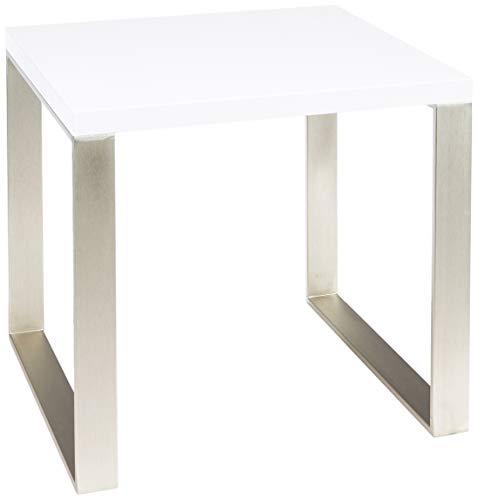 HAKU meubels bijzettafel in roestvrij stalen look, plank hoogglans wit gelakt 45 x 50 x 45 cm Roestvrij stalen look, wit.