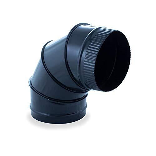 Codo sectores 90º vitrificado para chimeneas y estufas de leña y pellet, cualquier diámetro, autoconectables (120 mm)
