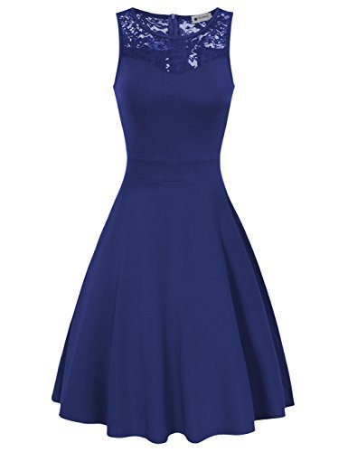 Womens Sleeveless Lace Neck Vintage Style Cocktail Bridesmaid Dress 1950s Blue S
