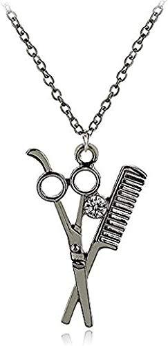 Yiffshunl Halskette Halskette Halskette Hip Hop Kamm Roségold versilbert Schere Kamm Kristall Anhänger Halskette für Friseurin Frau Schmuck Geschenk Halskette Geschenk