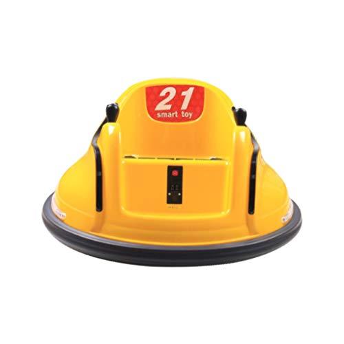 PPangUDing Kinderfahrzeuge Fernbedienung Fahrt auf Autoscooter Auto Spielzeug Elektrofahrzeuge 6V 360 Grad Spinning 6v Elektrospinnauto Batteriebetrieben mit Licht für Kinder (Yellow)