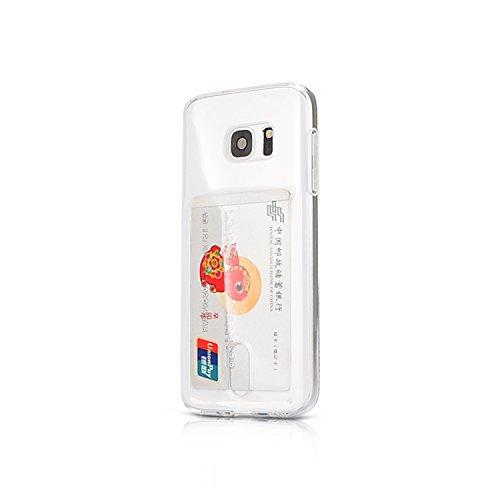 Wormcase ® Handy Hülle mit Kartenfach kompatibel mit Samsung Galaxy S7 - Farbe Transparent - TPU Schale Back-Cover Schutz-Tasche Kratzfest Stoßfest Bumper Crystal-Clear