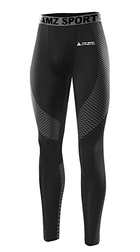 AMZSPORT Kompressionshose Lang Hose Funktionswäsche Leggings Pants Base Layer Lang Fitness Tight for All Season, Silber-28, L