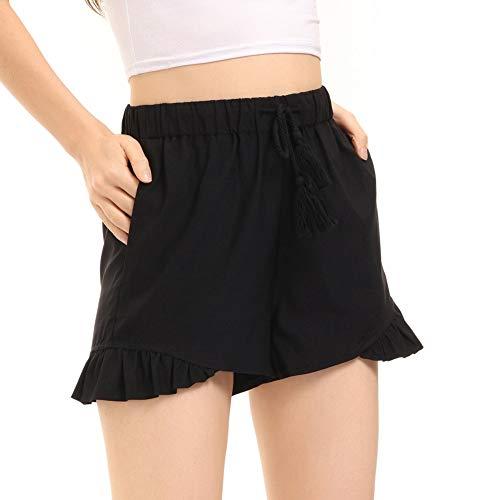 LIUMILAC Pantalones cortos de mujer de cintura alta, para verano, con volantes, cintura elástica con cinturón. Negro M