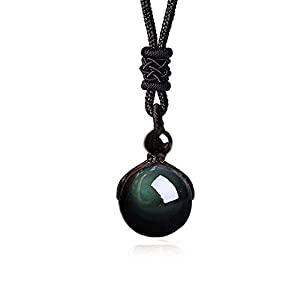 Rainbow Obsidian Stone Pendant Lucky Blessing Beads Amulet Necklace