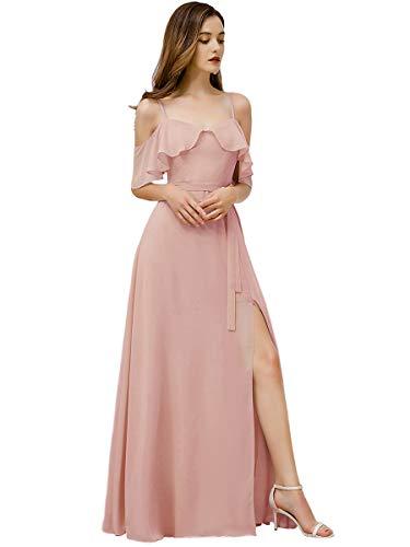 Ever-Pretty Fendue Robe de Soirée Femme Longue Demoiselle d'honneur A-Line à Bretelles Épaules Dénudées Rose Clair 36
