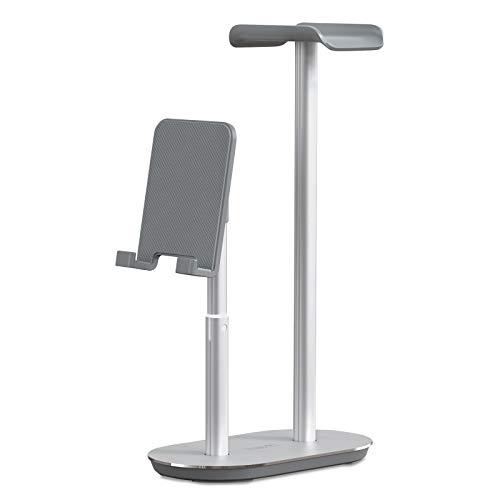 havit Kopfhörer Handy Ständer mit Höhen- und Winkelverstellbarer Gaming Headset Halterung aus Vollaluminiumlegierung für Handys Tablets für Büros und zum Haus, Silber (TH660)