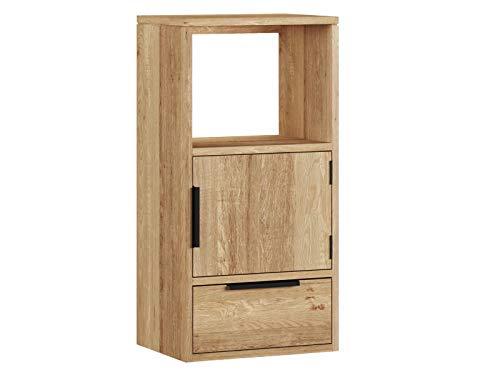 Woodkings® Wandregal Auckland aus massiver Wildeiche Hängeschrank 1Tür/1Schub/1Fach, Hängeregal, passend zum TV Lowboard, Holzmöbel, Wohnwand Modul, Regalsystem, Holzregal, Hängeregal