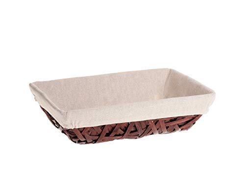 LUDI-VIN Corbeille rectangle osier/bois tissu Panier rect