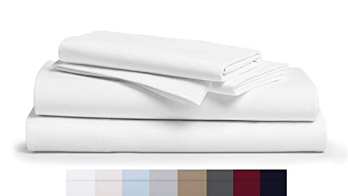 "1000 Thread Count 100% Long Staple Soft Egyptian Cotton SheetSet, 4 Piece Set, QUEEN SHEETS,upto 17"" Deep Pocket, Smooth & Soft Sateen Weave, Deep Pocket, Luxury Hotel Collection Bedding, WHITE"