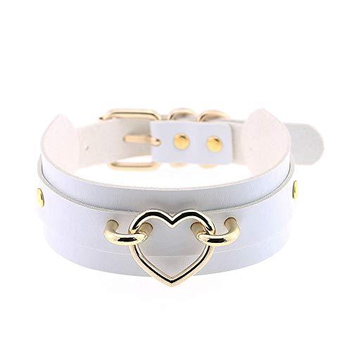 Jurxy Breit Lederhalsband Halskette Herz Form Damen Leder Choker Metall Ring Halsband Gotik Punk Rock Lederband Einstellbar Kragen - Weiß mit Gold Herz