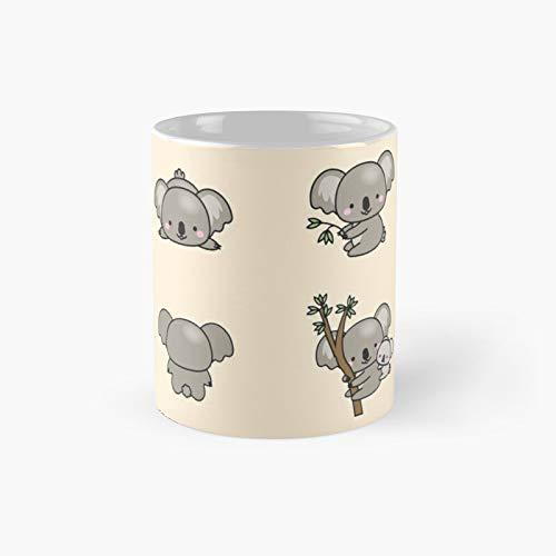Kawaii Koala Sticker Pack clásico taza mejor café divertido 11 oz para oficina y hogar