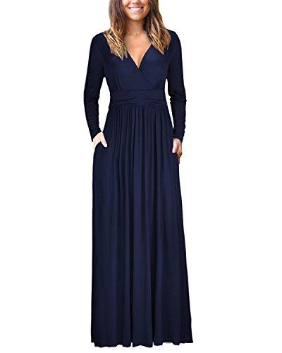 OUGES Womens Long Sleeve V-Neck Wrap Waist Maxi Dress(Navy,L)