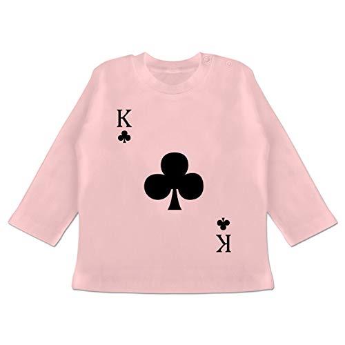 Karneval und Fasching Baby - Kreuz King Kartenspiel Karneval Kostüm - 18/24 Monate - Babyrosa - Kartenspiel - BZ11 - Baby T-Shirt Langarm