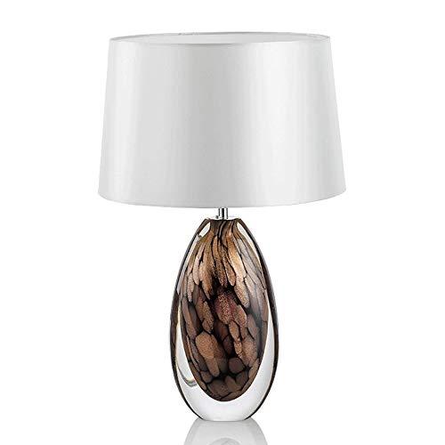 Yjdr Lámpara de mesa de 23 pulgadas para dormitorio, lámpara de mesilla de noche Nordic para salón, de cristal, simple diseño, moderno, personalidad creativa, hotel, E2