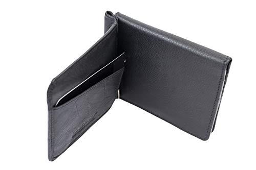 LEAS Dollar Clip mit Kleingeldfach und RFID Schutz Geldscheinklammer flach Geldklammer Money Clip extra dünn Echt-Leder, Portmonee mit Geschenk Box, schwarz