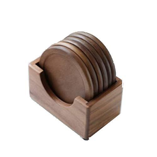 MEICHENG-DZ Erfrischendes 6pcs Schwarze Walnuss-Coaster, Holz Haushalt Becher Isolierung einfach
