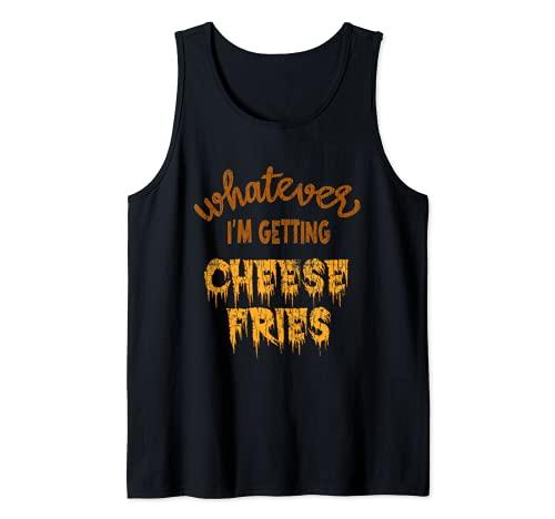 Grfico divertido de comer para amantes de la comida con papas fritas con queso Camiseta sin Mangas