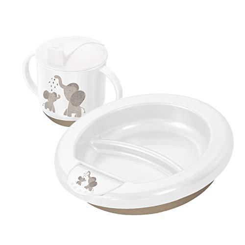 Rotho Babydesign Esslern-Set, Ab 6 Monaten, Modern Feeding, Design Modern Elephants, 20,5 x 20,5 x 4,6 cm, Weiß/Taupe Perl, 306630280CG