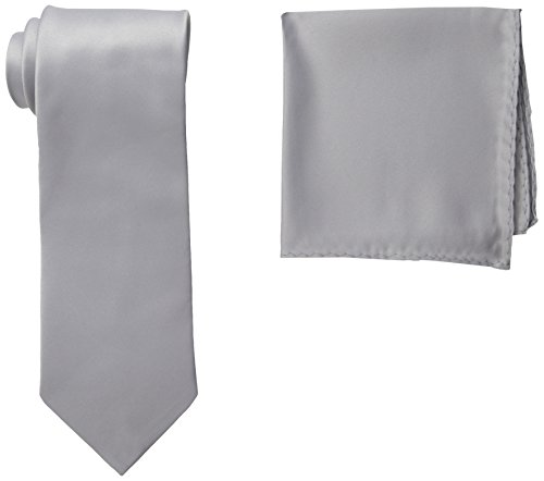 Stacy Adams Men's Satin Solid Tie Set, Silver, One Size