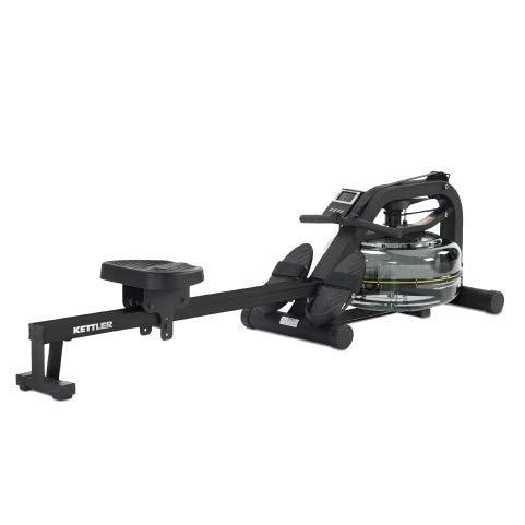 Kettler Rower H20 - Vogatore con sistema di frenata a resistenza all'acqua, display LCD, livelli di resistenza in base all'intensità, regolabile salvaspazio, alimentazione: batterie