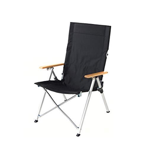 Outdoor lichtgewicht aluminium vouwstoel, draagbare ligstoel, visschetsstoel, campingstrandstoel size Zwart