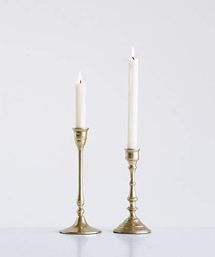 Creative Co-op Decorative Gold Aluminum Taper (Set of 2 Sizes) Candle...
