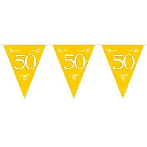 1 Wimpelkette Girlande Zahl 50 Geburtstag 6m Goldene Hochzeit