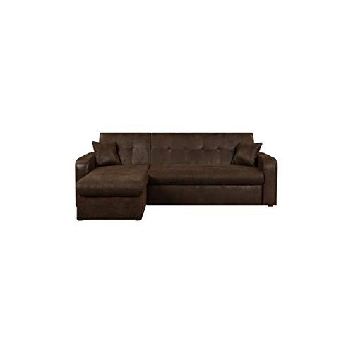 Canapé d'angle 3 places Marron Tissu Pas cher Contemporain