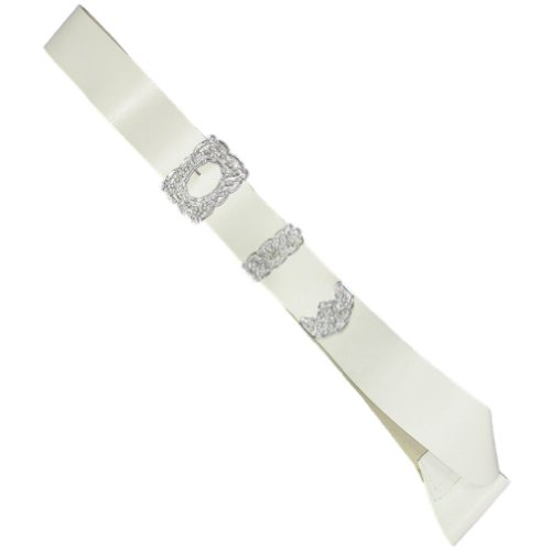 Tartanista - Baudrier de kilt pour cornemuseur/piper - homme - boucle argentée/dorée - blanc/boucle argentée - Taille unique