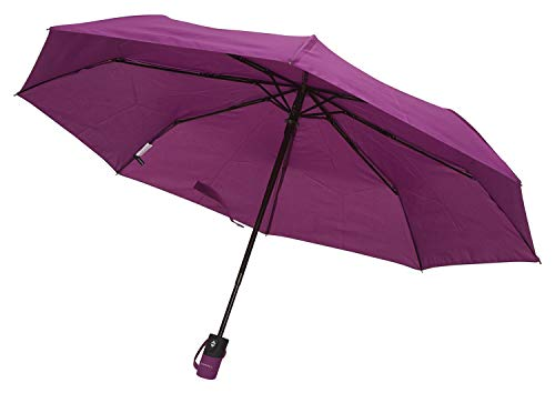 TAHARI Automatic Open & Close Compact Travel Umbrella With Contour handle for Men and Women (Purple)