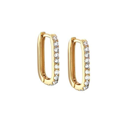 Pendientes de aro Redondos de círculo de Cristal CZ de Lujo de Plata de Ley 925 para Mujer Pendientes de perforación Joyería de plata-60206829200C